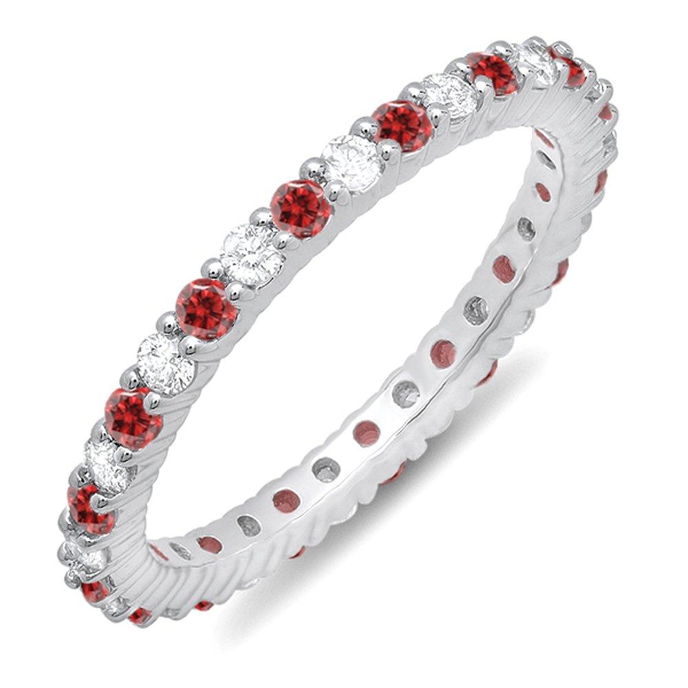 14K White Gold Round Ruby & White Diamond Ladies Eternity Stackable Ring Wedding Band