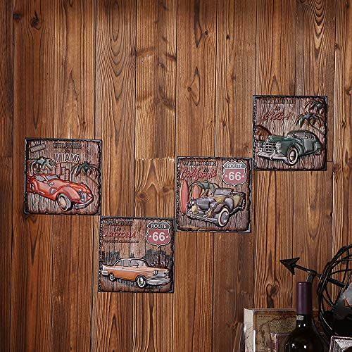 3D Retro Route 66 Cars Wall Paintings Set Cafe/Restaurant/Bar/Office/Home Decor