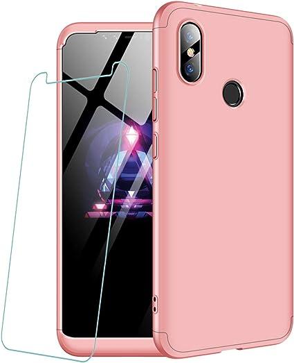 6.26 Joytag Funda Xiaomi Redmi Note 6 Pro +Protectora de pel/ícula de Vidrio Templado 360 Grados Oro Rosa Ultra Delgado Todo Incluido Caja del tel/éfono de la protecci/ón 3 en 1 Case Oro Rosa