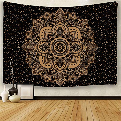 Mandala Tapestry Wall Hanging Black & Golden Hippie Tapestry Bohemian Tapestry Indian Art Floral Decorative Wall for Bedroom Living Room Bedspread(S/51.2