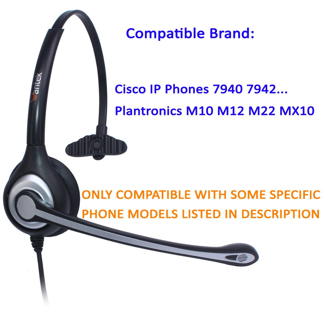 F600C1 Wantek Corded Telephone RJ Headset Monaural with Noise Canceling Microphone for Call Center Cisco 7940 7942 7971 Office IP Phones or Telephone Systems Plantronics M10 M12 M22 MX10 Amplifiers
