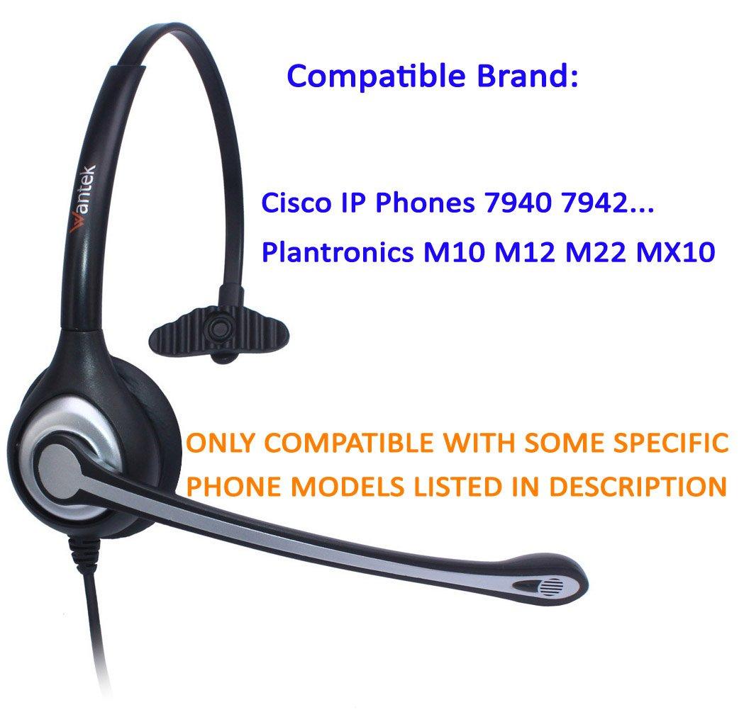 WANTEK Cascos con Control de Volumen para Cisco 7942 7945 7971 o Amplificadores Plantronics M10 M12 M22 MX10 Auriculares Tel/éfono Fijo RJ9 Monoaural F600C1 Micr/ófono con Cancelaci/ón de Ruido