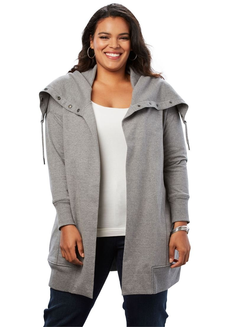 Roamans Women's Plus Size Snap-Collar French Terry Jacket