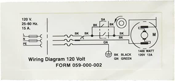 [NRIO_4796]   Ridgid 58982 Wiring Diagram 120V Decal - Replacement Part - Amazon.com | Bk Wiring Diagram |  | Amazon.com