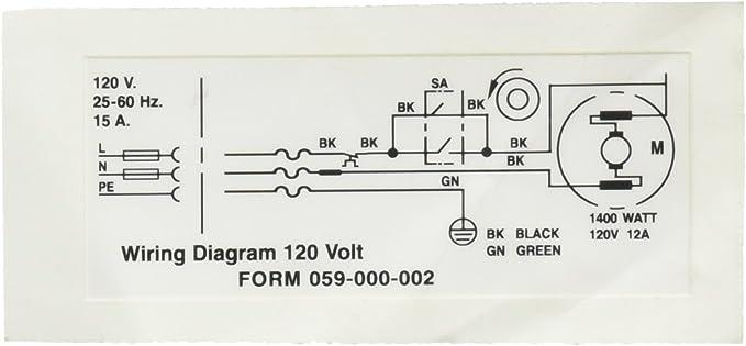 Ridgid 58982 Wiring Diagram 120V Decal - Replacement Part - Amazon.comAmazon.com