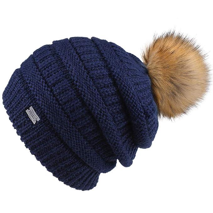 FURTALK Womens Slouchy Winter Knit Beanie Hats Chunky Hat Bobble Hat ... 2f7a56a1349