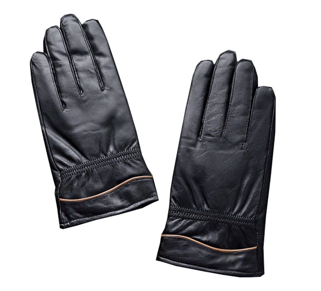 UNbox Mens Hand Sewing Color Line Driving Daily Wool Inside Lining Leather Gloves