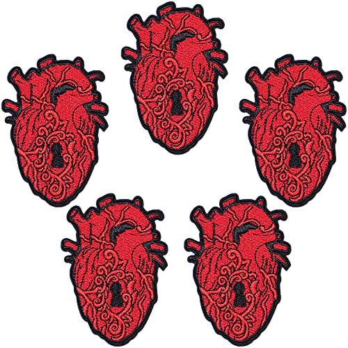 Harsgs The Key to My Heart Patches, Embroidered Iron On/Sew On Patches, Cute Applique Patches for Clothing, Jackets, Hats, Backpacks, Jeans (Pack of 5)