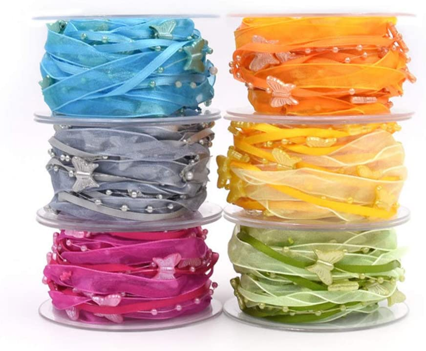 SUPVOX perlenband Organza verdrahtetes Band Satinband handwerksband f/ür DIY Handwerk Weihnachtsbaum Kranz Kranz hochzeitsdekoration n/ähen 5m
