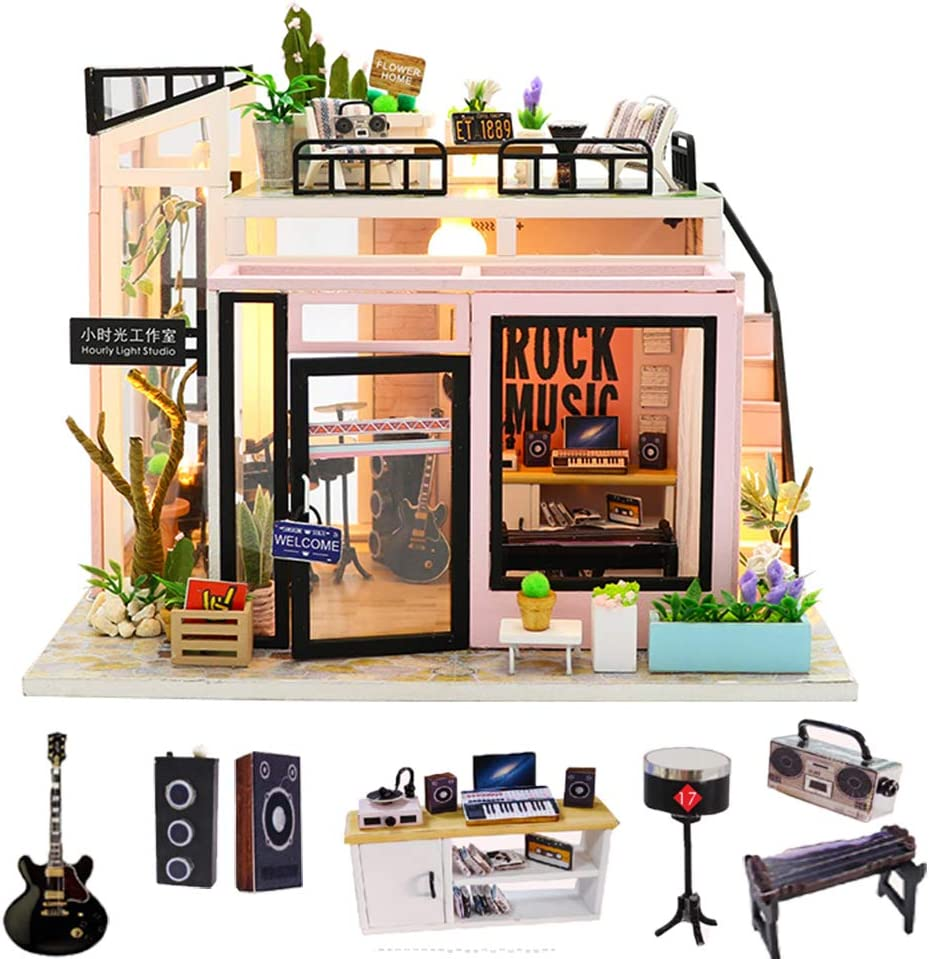 Spilay DIY Miniature Dollhouse Wooden Furniture Kit,Handmade Mini Modern Model Plus with Dust Cover & Music Box ,1:24 Scale Creative Doll House Toys for Children Lover Gift(Time Studio)