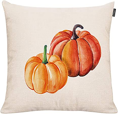 Amazon Com Gtext Fall Pumpkin Throw Pillow Cover Autumn Decor Pumpkins Pillow Cuhion Cover Case For Couch Sofa Home Decoration Fall Pillows Linen 18 X 18 Inches Home Kitchen