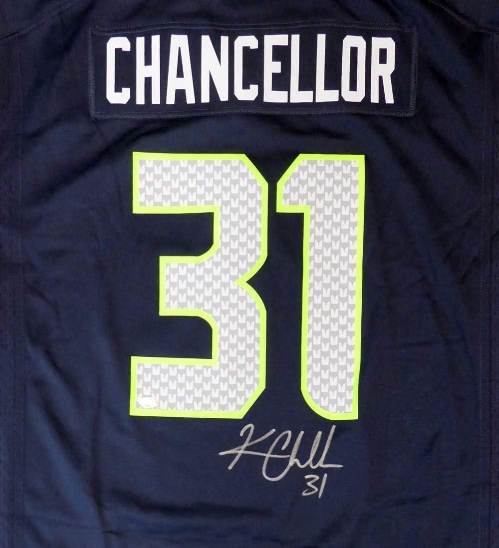 Seahawks Kam Chancellor Autographed Blue Jersey Size XL MCS Holo