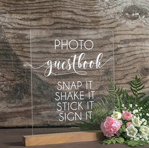 Photobooth GuestBook Sign | Snap It, Shake it, Sign it | Acrylic Guestbook Wedding Sign | Photobooth Guestbook | Acrylic Guest Book by Sweet Carolina Collective