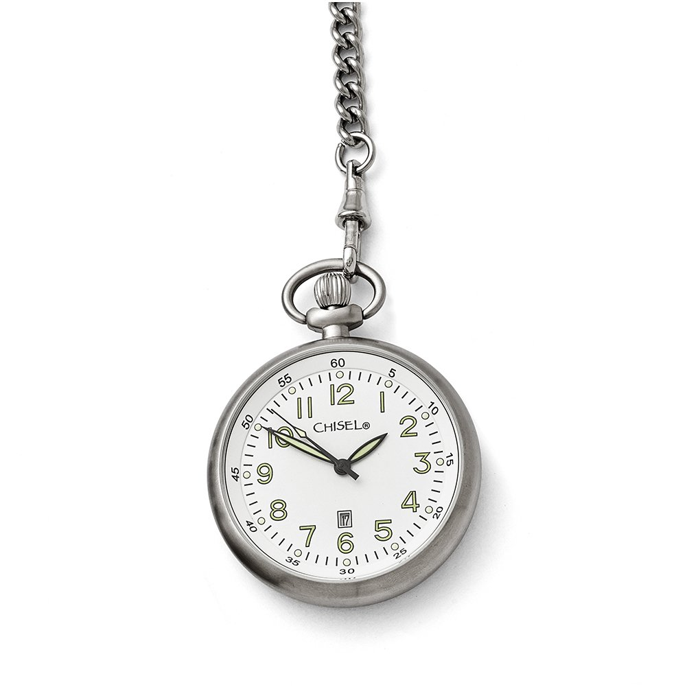 Chisel Stainless Steel White Dial Pocket Watch TPW87