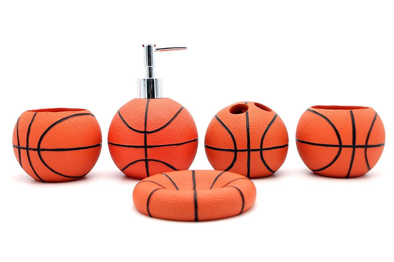 JynXos Resin 5 Pieces Bathroom Accessory Set -Basketball Design Ensemble Bathroom Vanities Home Decor