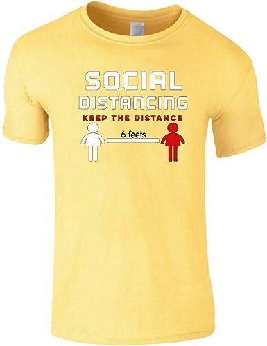 Playera para hombre con protección contra la pandemia de virus de distancia de 6 pies, ayuda a prevenir | Camisetas de cuarentena | Mantener la distancia Tops: Amazon.es: Ropa y accesorios