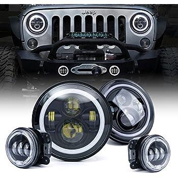 amazon com xprite 7 inch led halo headlights for jeep wrangler jk