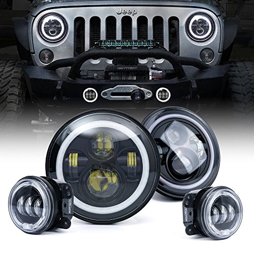 Xprite Jeep Wrangler 7″ 80W CREE LED Headlights & 4″ 60W Fog Lights Combo w/White Halo for 2007-2018 Jeep Wrangler JK