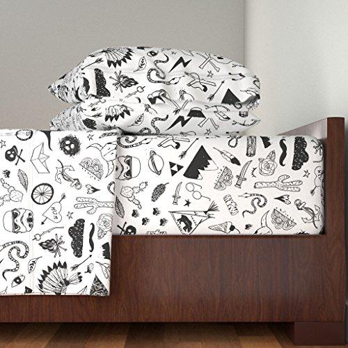 (Black And White 3pc Sheet Set Monochrome Hipster Dinosaur Cactus Teepee Boy Nursery by Nouveau Bohemian 100% Cotton Sateen Twin Sheet Set)