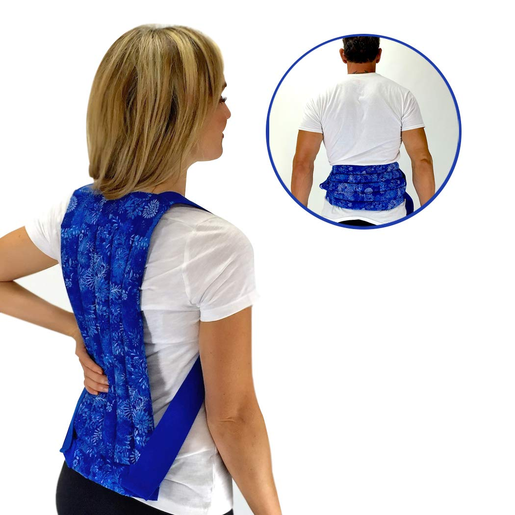 Spine & Back Herbal Heating Pad - Warm Relief for Lower/Mid Back – Microwavable Hot and Cold Pack by Nature Creation (Blue Flowers)