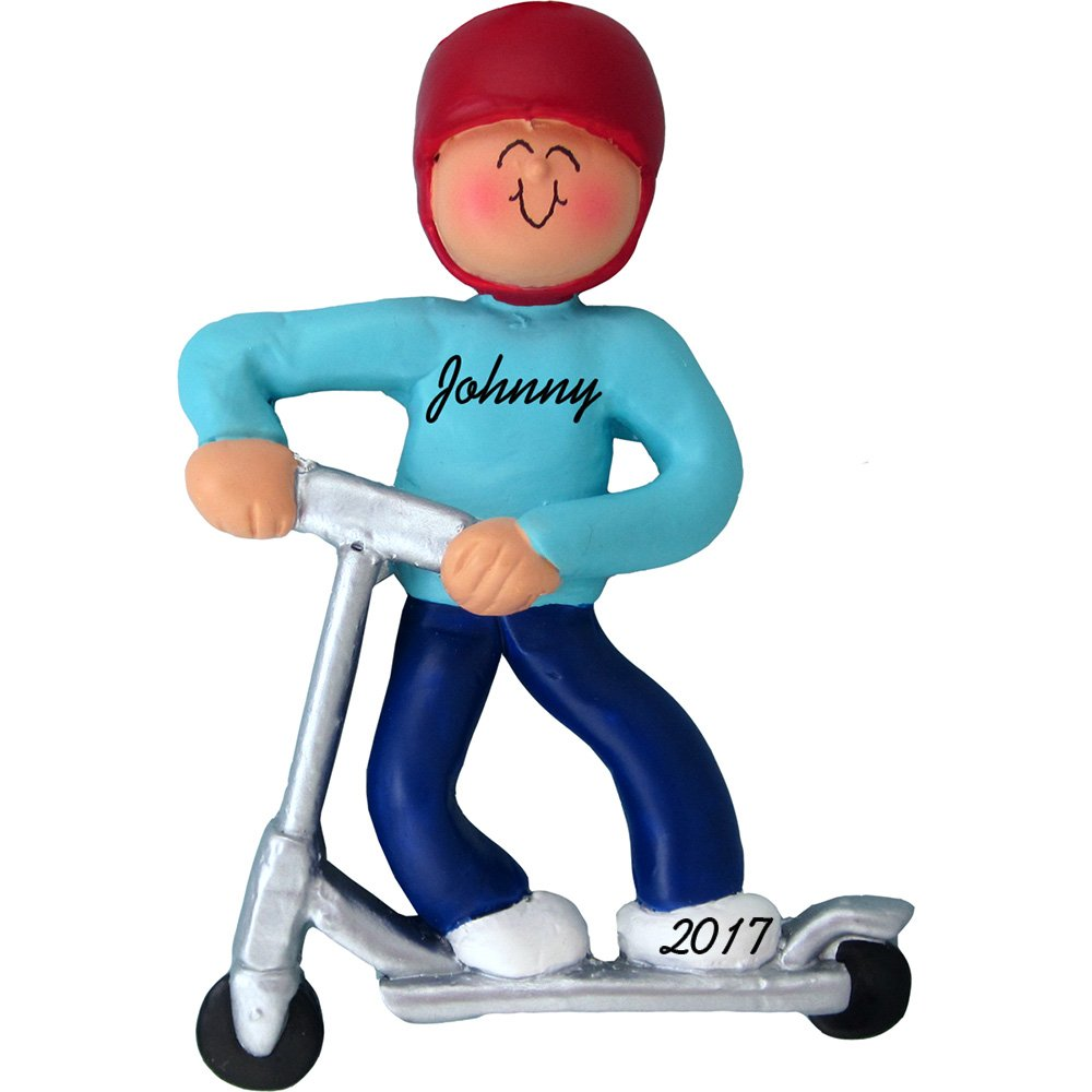 Riding Kick Scooter Personalized Christmas Ornament - Boy - Handpainted Resin - 4'' tall - Free Customization by Calliope Designs