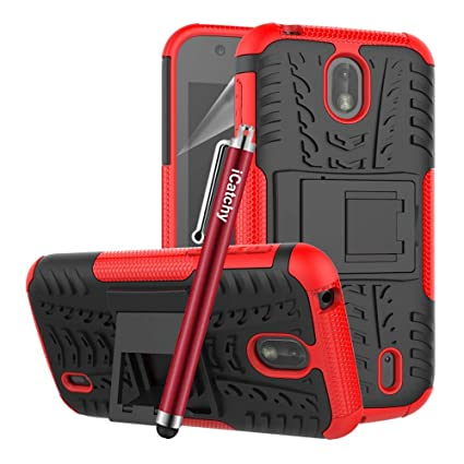 new arrivals e3dfe 50027 for Nokia 1 - Hard Back Case Heavy Duty Armour Tough Premium Quality  Shockproof Builder [Stand View] Cover with Microfibre Polishing Cloth (Red)