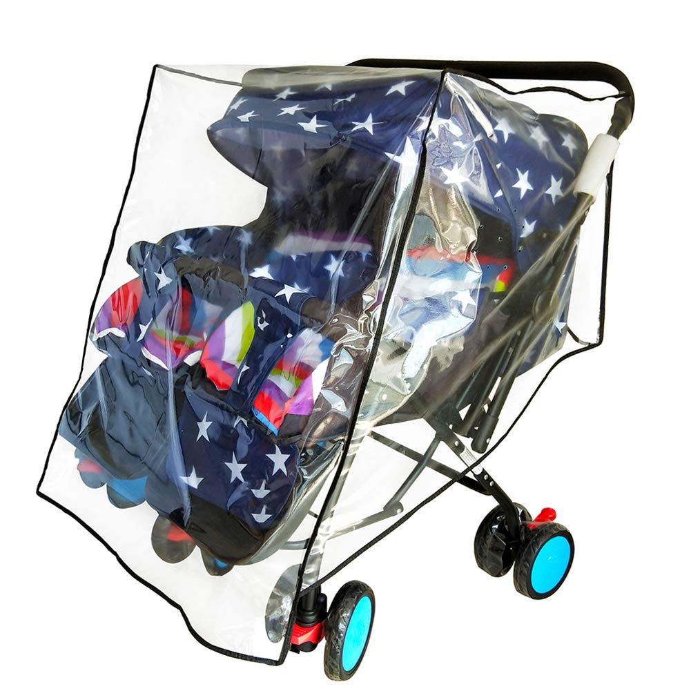 Weather Shield for Double Stroller Raincoat Universal Size Side by Side Baby Umbrella Stroller Rain Cover Scooter Twin Wind Shield Waterproof Jogger City (Side by Side) by HSJH
