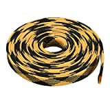 uxcell PET Braided Sleeving 16.4 Feet 5m Expandable Cable Wrap 16mm Diameter Wire Sheath Black Yellow