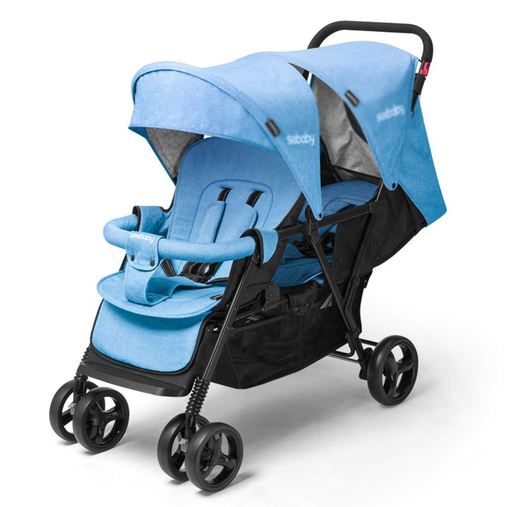 OCYE Double Stroller/Twin Tandem Baby Stroller/Simple Folding Design, Adjustable Awning, Five-Point seat Belt, Double-Foot Pedal, Oversized Basket