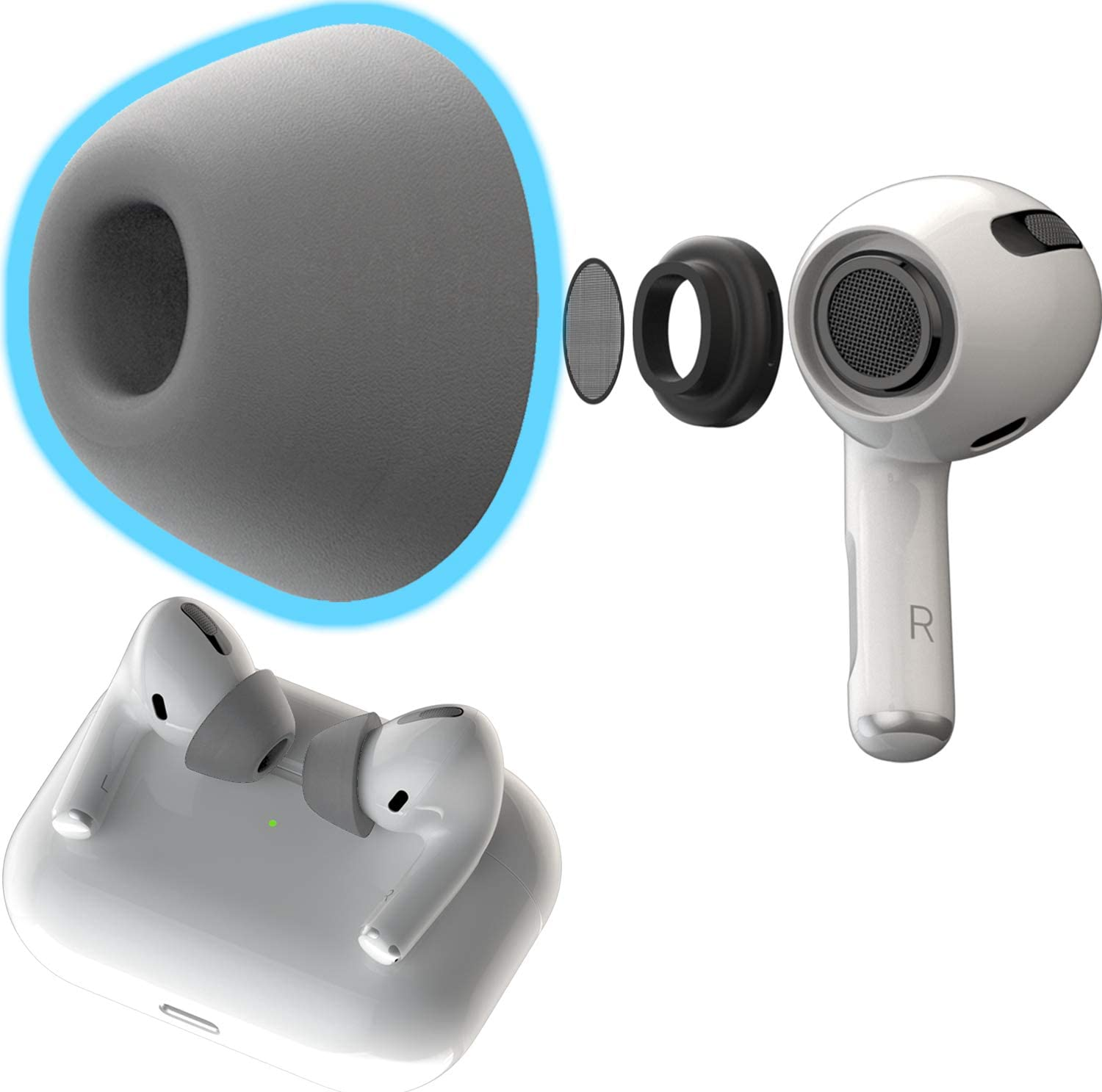 CharJenPro Memory Foam Ear Tips for AirPods Pro. Next Gen. Tips 2.0. Form Fit as seen Kickstarter. No Silicone Ear tip Pain. Ultra Comfortable Replacement Ear Tips. (2 Sizes: S/M and M/L, Space Grey)