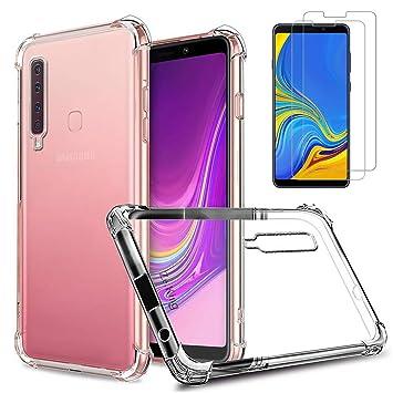 Samsung Galaxy A9 2018 Funda y Protector de Pantalla *2, MISSDU Transparente Silicona Fundas Silicona Crystal Shell Case Panel Trasero Transparente y ...