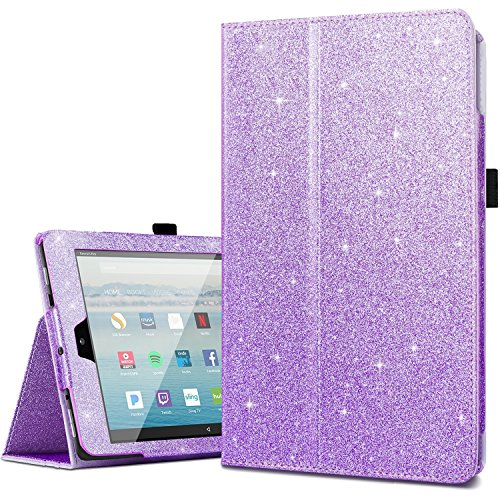 Case for All-New Amazon Fire HD 10 Tablet (7th Generation,2017 Release),Fingic Luxury Sparkly Folio Folding Stand Cover with Holder & Auto Wake/Sleep Smart Case for Fire HD 10.1 Inch Tablet,Purple