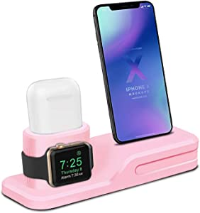 LEWOTE 3in1 Silicone Charging Stand Dock Compatible for Apple Watch/Airpods/iWatch/iPhone X 8 7 6 Plus[Gift a Airpods Case] (Pink)