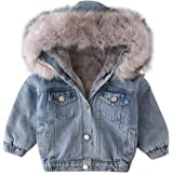 Toddler Baby Girls Faux Fur Denim Jackets Hooded Thicken Fleece Warm Jean Coat Plush Winter Hoodie Outwear for Kids