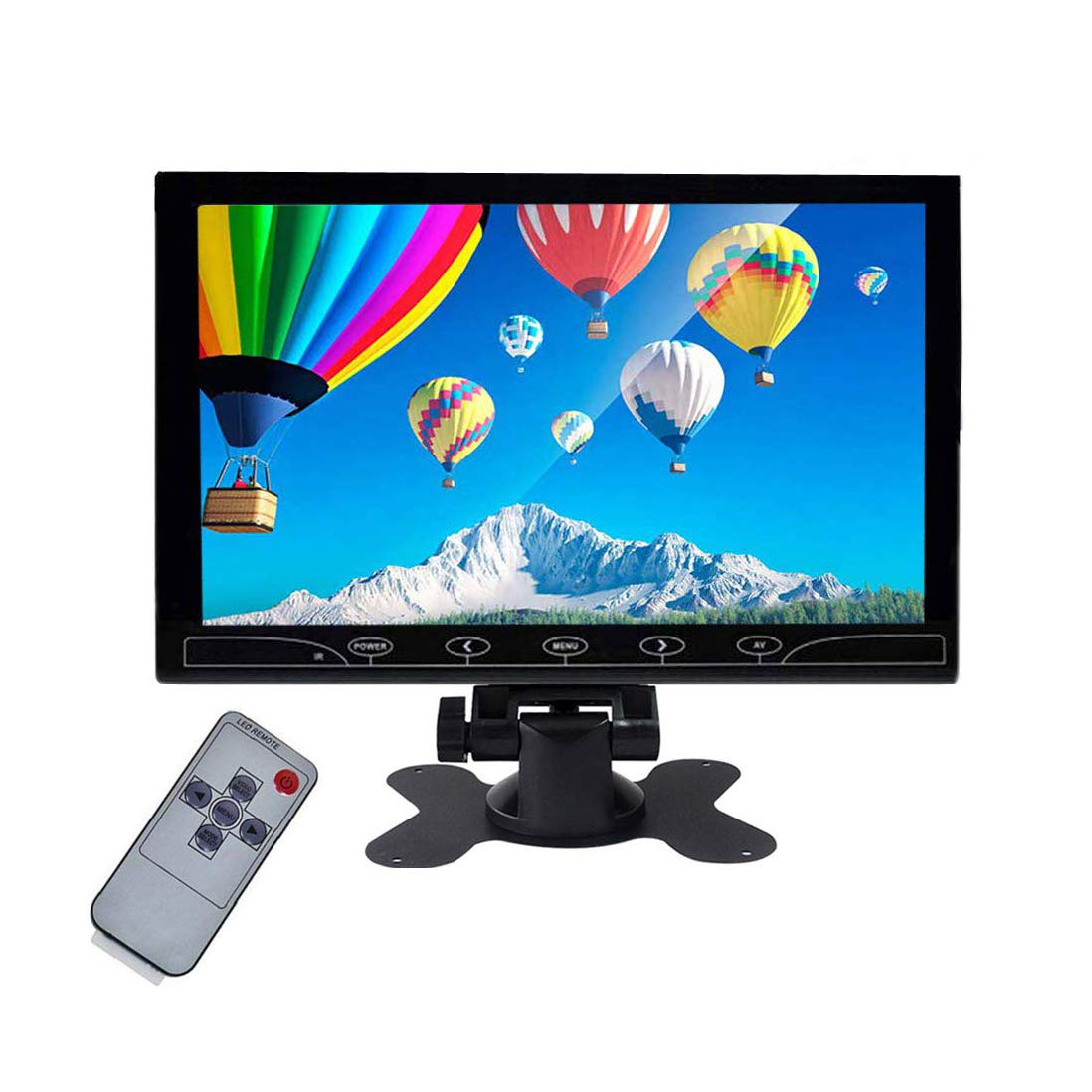 Beyi 10.1'' inch Monitor Small Portable Color Display Screen, 1024X600 LED Screen Bracket&Remote Control with HDMI/VGA/AV Input Built-in Speakers for DVR PC, Security Camera, Raspberry Pi, TV Box by BEYI-US