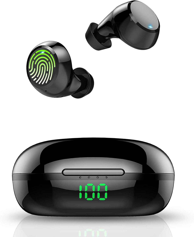 Tiksounds Auriculares Bluetooth,Auriculares Inalambricos con Micrófono,36 Horas de reproducción con Caja de Carga,IPX7 Impermeable Auriculares Calidad