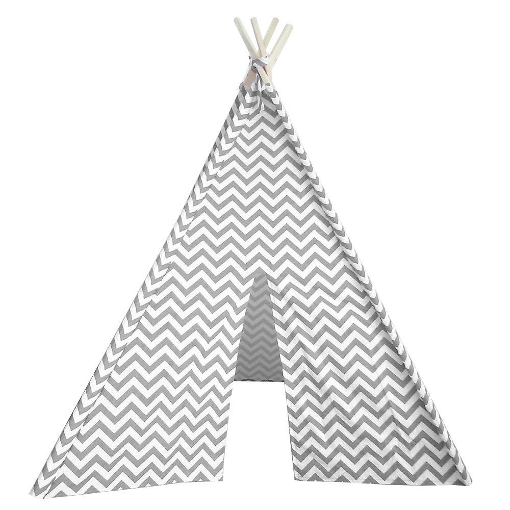 Modern Home Children's Oxford Tepee Set with Travel Case Gray Chevron