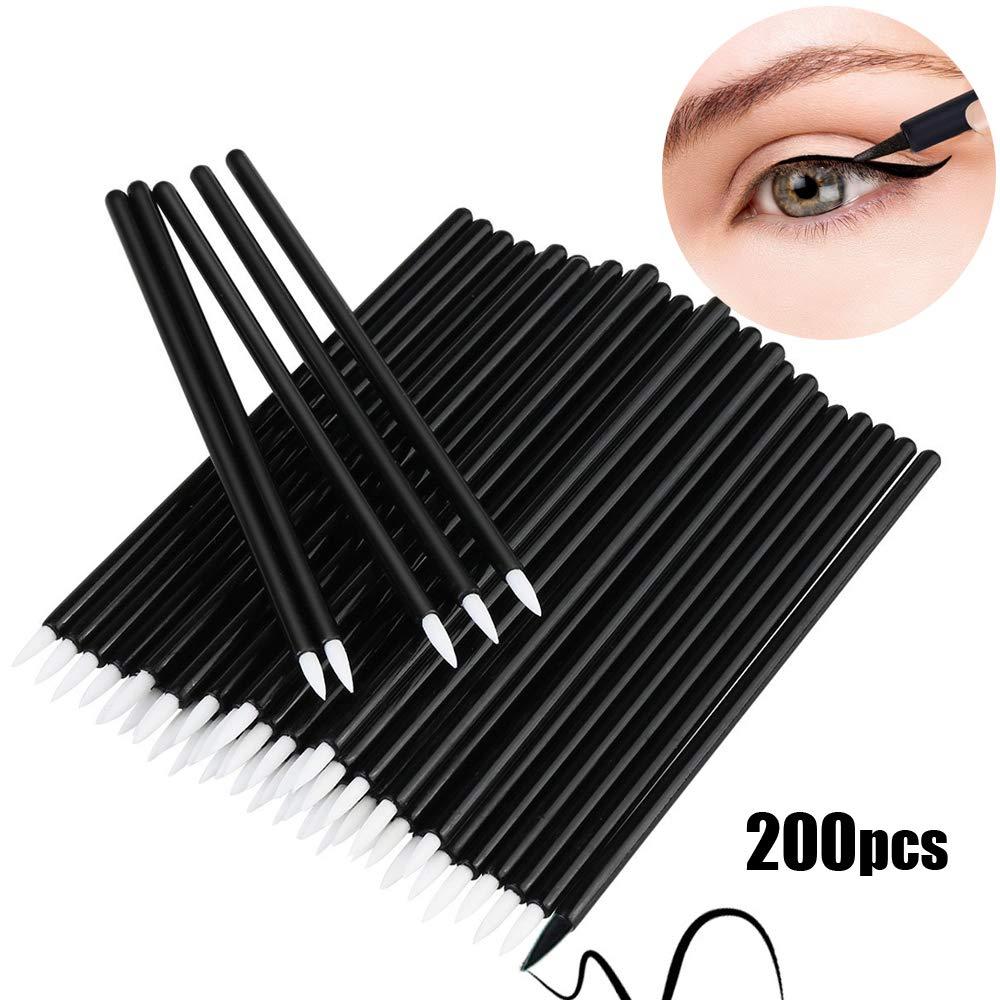 Bysiter Disposable Eyeliner Brush Eye shadow Applicator Fine Point Eye Liner Pens Lip Liner brushs Cosmetic Wands Makeup Tool set,200pcs (Black)