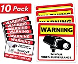 Video Surveillance Sticker Sign Decal - 10 Pack - Home Business Camera Alarm System Stickers - (4)5½'' x 5½'' & (6)3'' x 4'' - Adhesive Under 24 Hours Security Warning Signs - Robbery & Theft Prevention