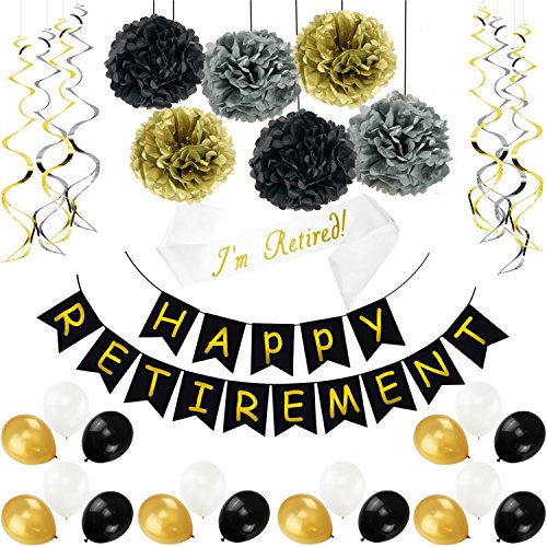 Hestya 34 Pieces Retirement Celebration Banner Bunting Retired Sash Paper Pom Poms Foil Ideal Latex Balloons for Retirement Party Supplies Favors Gifts Decorations