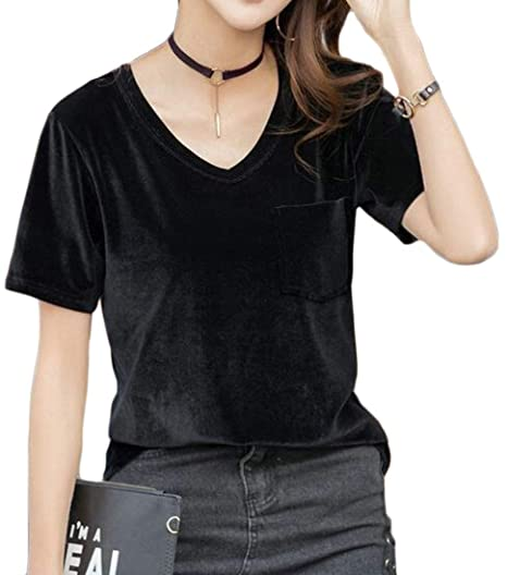16792dd4482 Domple Women s V-Neck Solid Color Short Sleeve Comfy Pleuche Summer T-Shirt  Top Blouse at Amazon Women s Clothing store