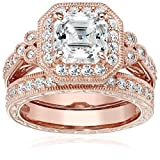 Rose Gold Plated Sterling Silver Antique Ring set with Asscher-Cut Swarovski Zirconia (4.5 cttw), Size 7