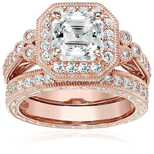 Rose-Gold-Plated Sterling Silver Antique Ring set with Asscher-Cut Swarovski Zirconia, Size - Large Rose Silver