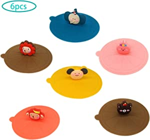 6 Pack Food Grade Silicone Cup Lids, Anti-Dust Creative Animal Glass Cup Cover Coffee Mug Suction Airtight Seal Lid Cap