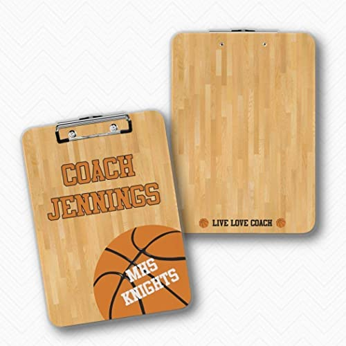 9e43d890eec Amazon.com: Personalized Double Sided Basketball Coach Clipboard ...