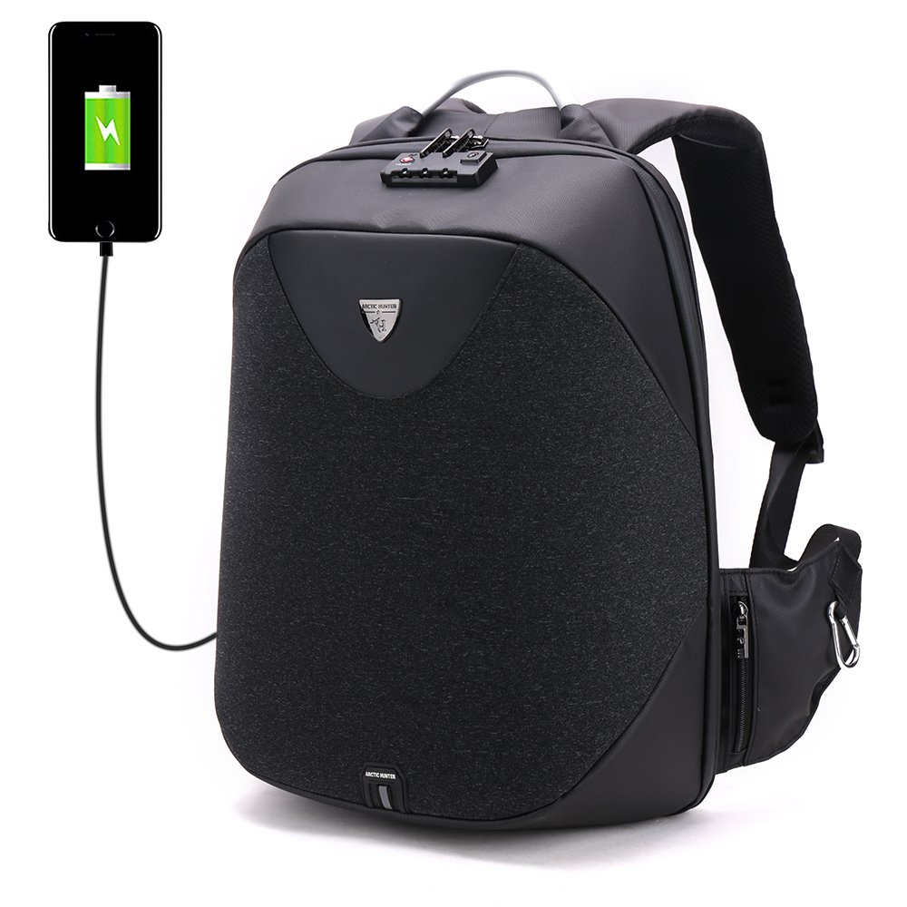 Travel Laptop Backpack, ZNIENIE Anti Theft Travel Business Backpack with USB Charging Port and Lock, Water Resistant Slim Business Computer Bag for Men Women Fits 16 Inch Laptop and Notebook (Black)
