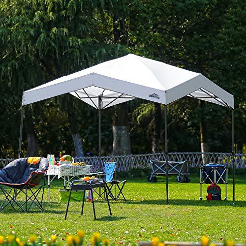10' x 10' Pop up Slant Leg Canopy Outdoor Portable Instant Folding Tent UV Resistant - White with Wind-Brace Pole