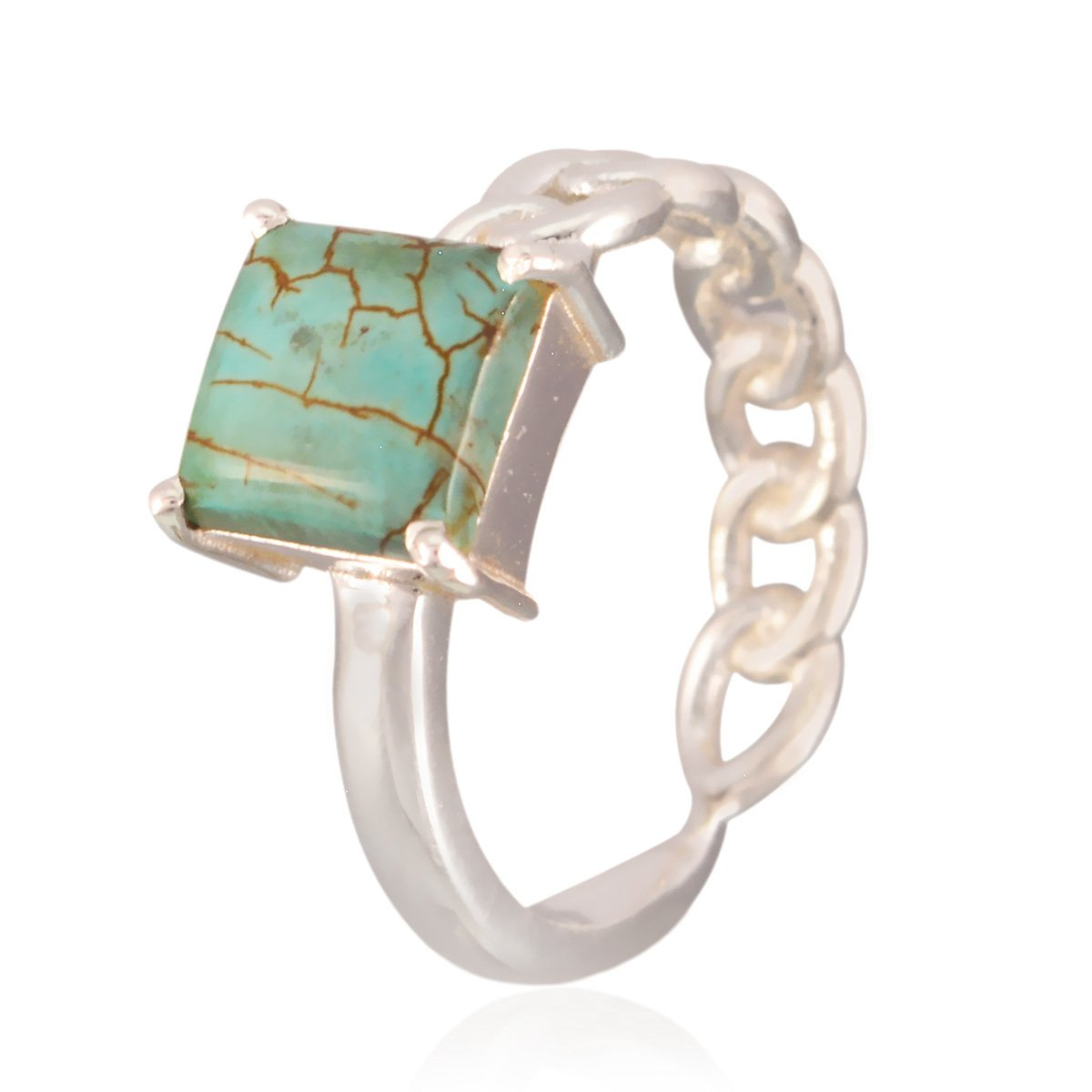 Jewellery Most Seller Gift for Mothers Day Cushion Cut Ring RGPL-Nice Gemstone Square cabochon Turquoise Rings 925 Silver Multi Colour Turquoise Nice Gemstone Ring