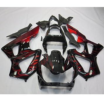 Alpha Rider motocicleta ABS Inyección Molde profundo rojo llama y kits de carenado carrocería pintada de negro Set para Honda CBR 929 RR 2000 2001: ...