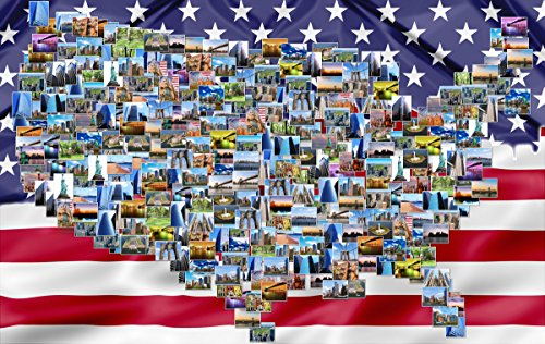 Branded American Flag (USA Map and American Flag Collage Jigsaw Puzzle 1000 Pieces Magic Human Collection Peel & Stick Bonus)